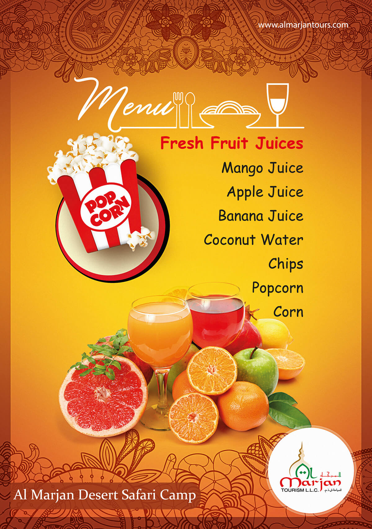 Fresh Fruit Juices Menu Card Design PSD