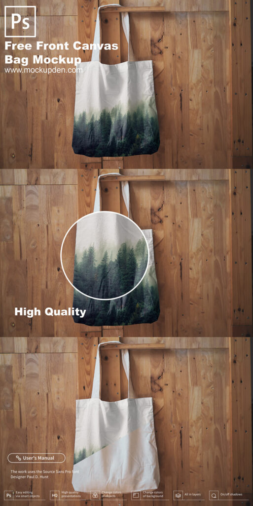Free Front Canvas Bag Mockup PSD Template