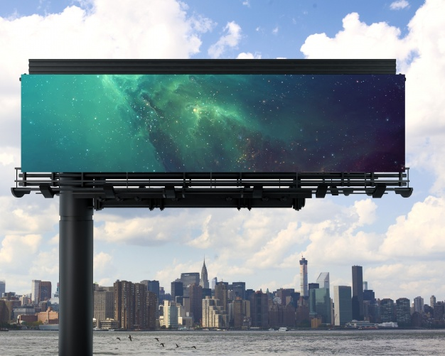 Galaxy Print Billboard PSD Template in Customizable Background