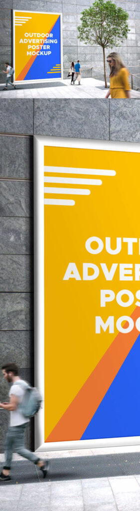 Giant Advertising Poster Beside Stairs