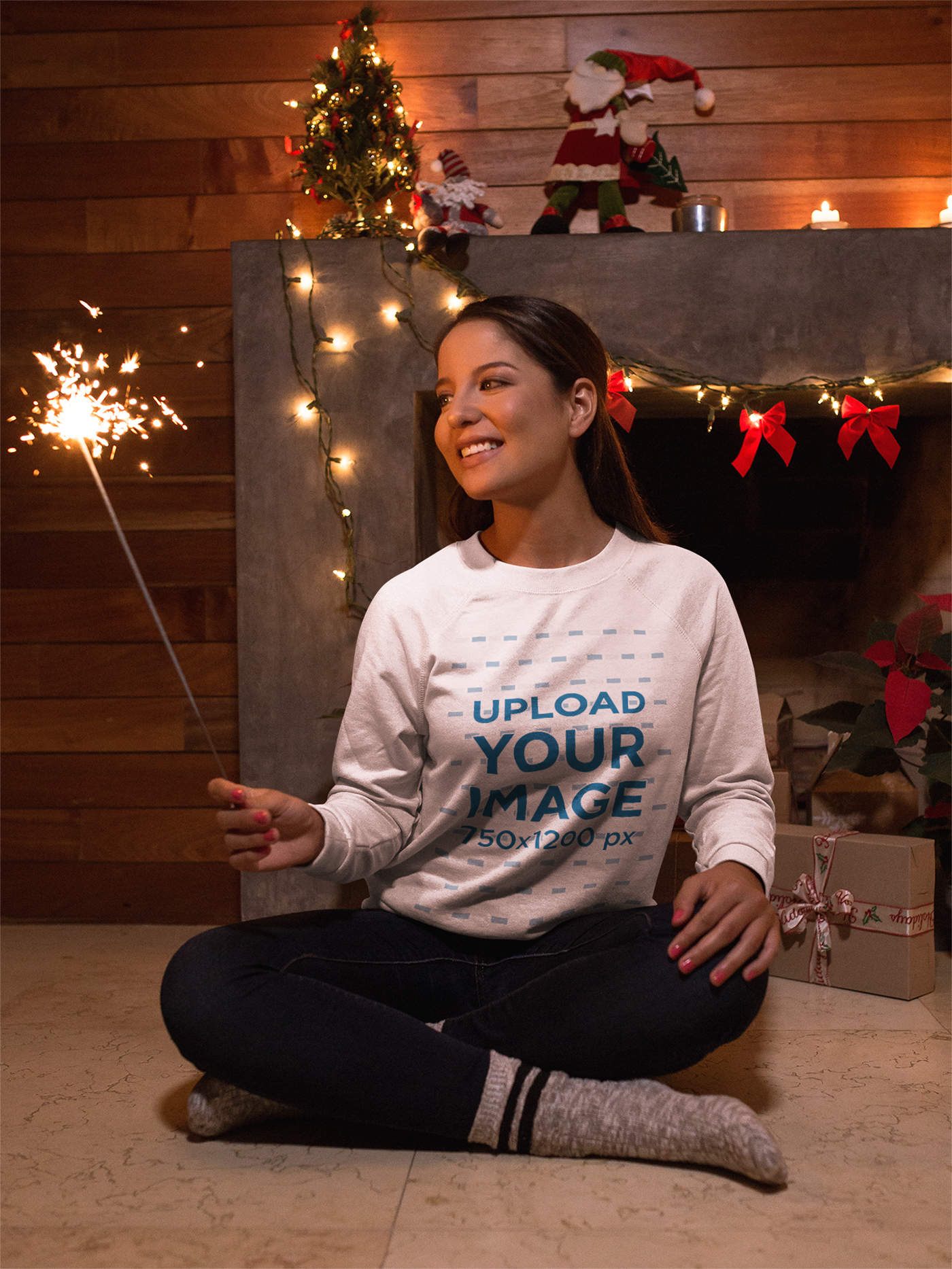 Girl Wearing White Sweatshirt Celebrating Christmas