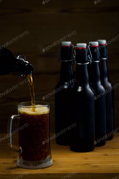 Glass Being Filled With Beer Mockup Illustration