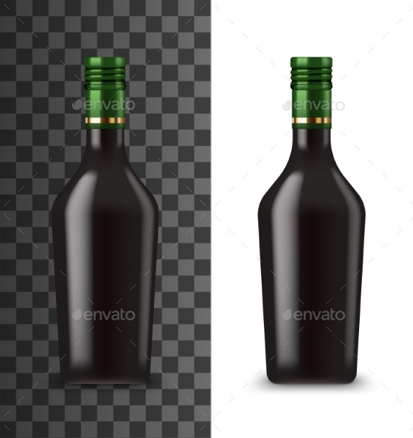 Glass Bottle Chocolate Cream Liquor Mockup