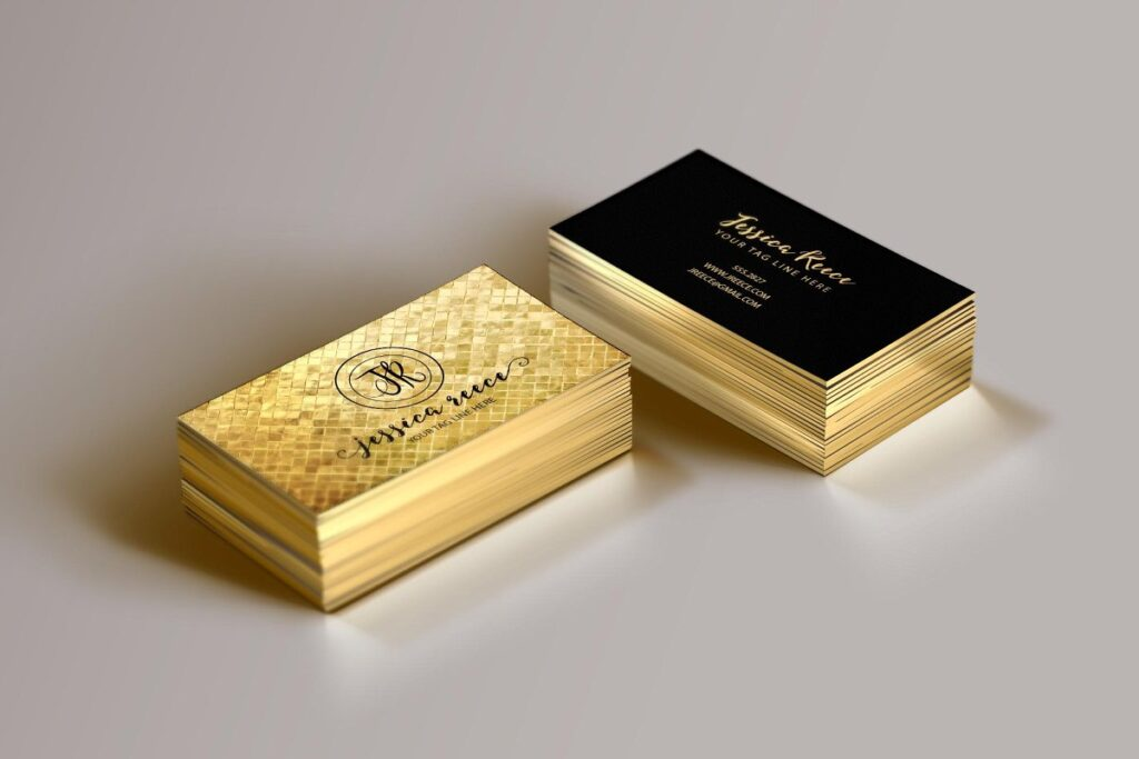 Golden And Black Color Attractive Business Card Mockup