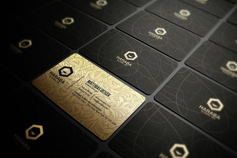 Golden And Black Color Attractive Multiple Business Card Illustration