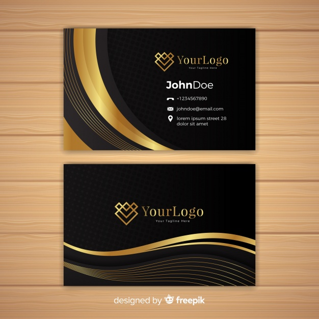 Golden Curve Shade Printed Business Card On Wooden Table Mockup