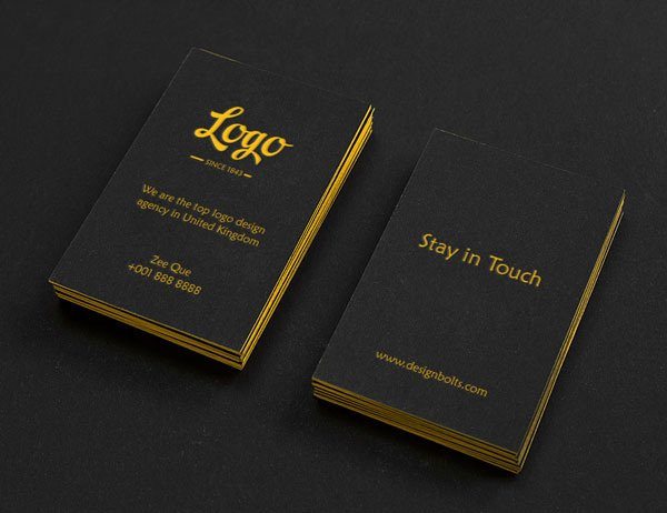 Golden Font Black vertical Business Card Illustration