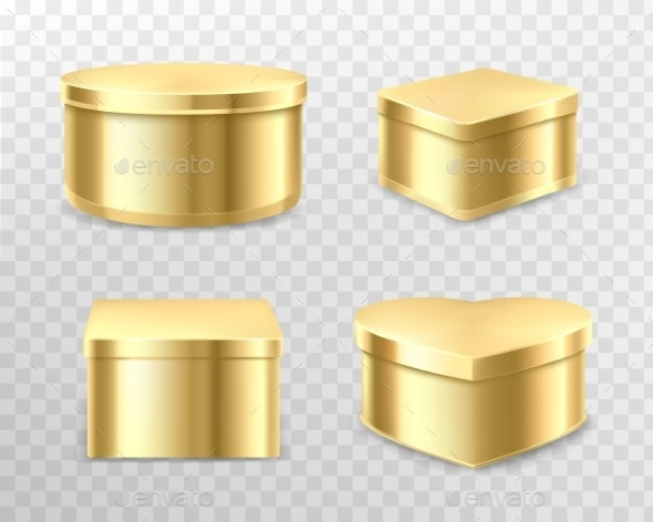 Golden Gift Tin Boxes for Tea Coffee or Sweets