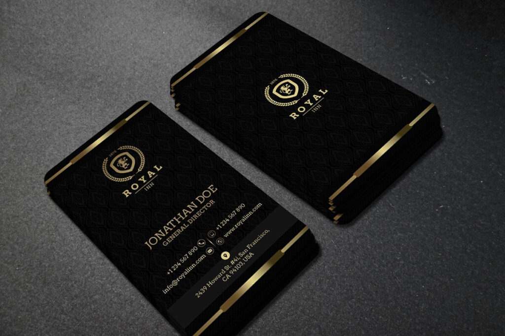 Golden Logo And Text Print On Black Vertical Business Card Mockup illustration