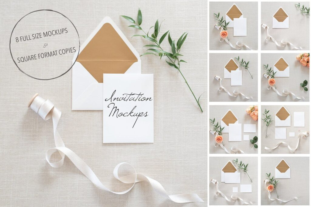 Gorgeous Styled Invitation Card Mockups + PSD