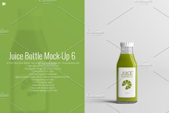 Green Color Juice Bottle Label Design Template