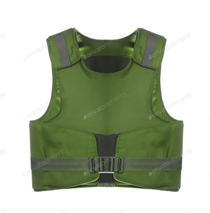 Green Colored Bulletproof Vest Mockup.
