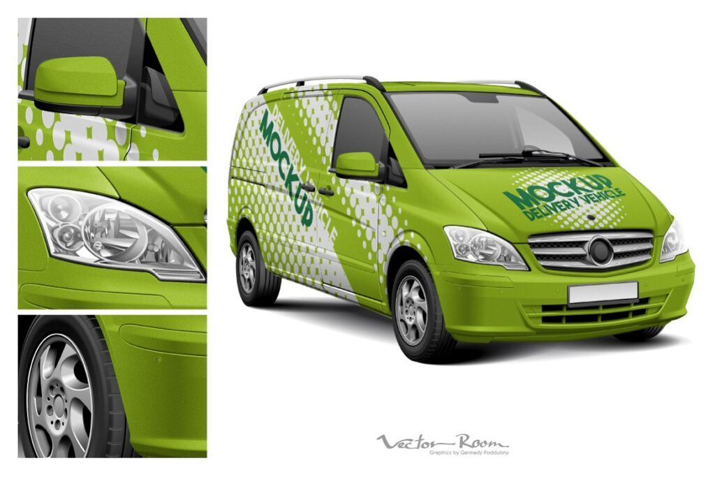 Green Colored Delivery Vehicle Mockup.
