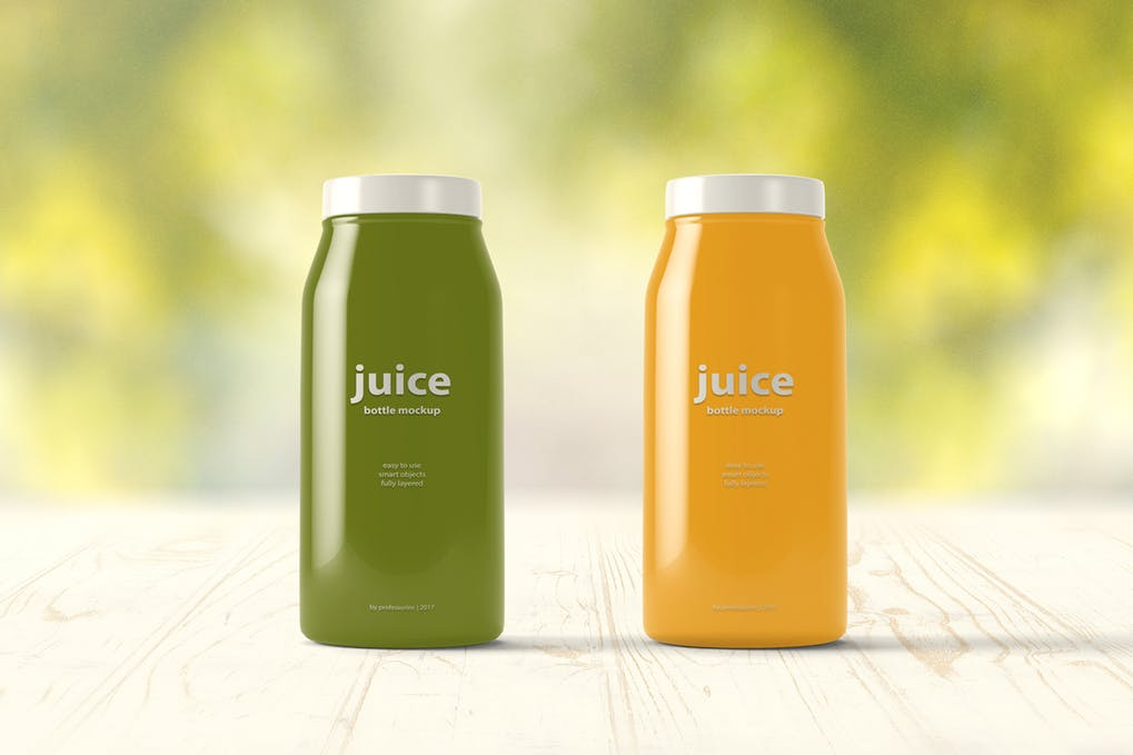 Green and Yellow Juice Bottle PSD Mockup