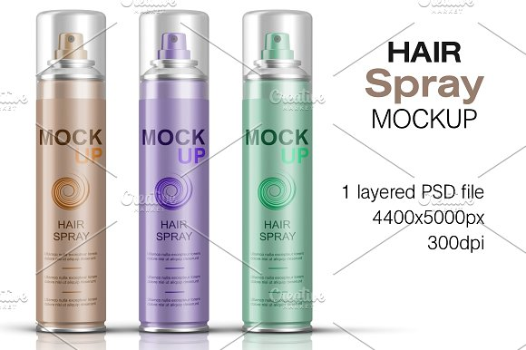 Hair Spray Bottle PSD Mockup