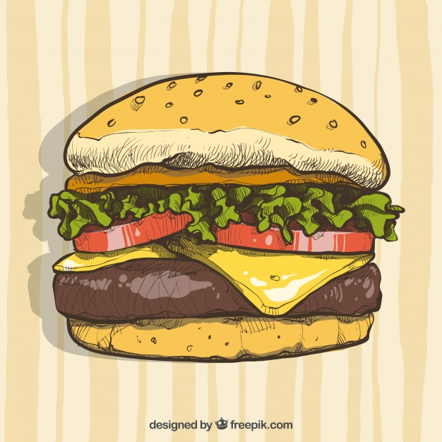 Hand Drawn Picture of a Burger Vector Format