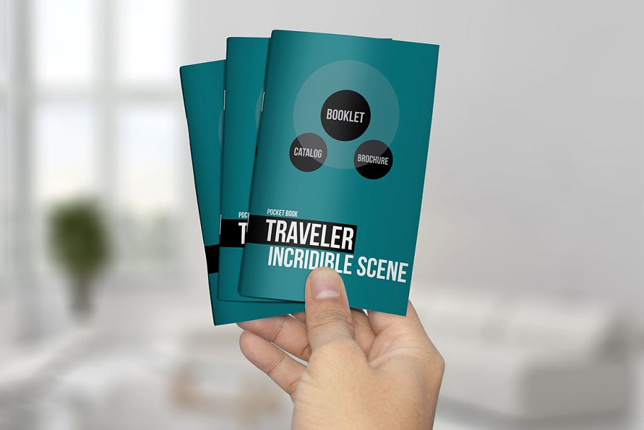 Hand Holding Three Booklet Mockup