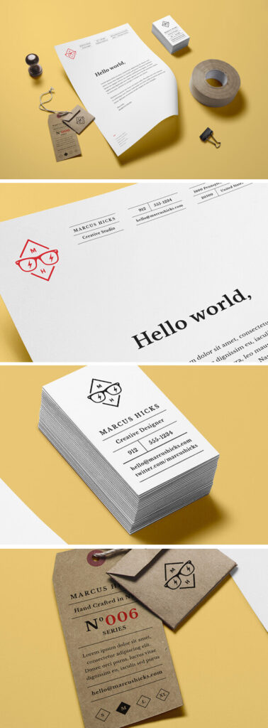 Hang Tag Along With Stationery Beside Mockup