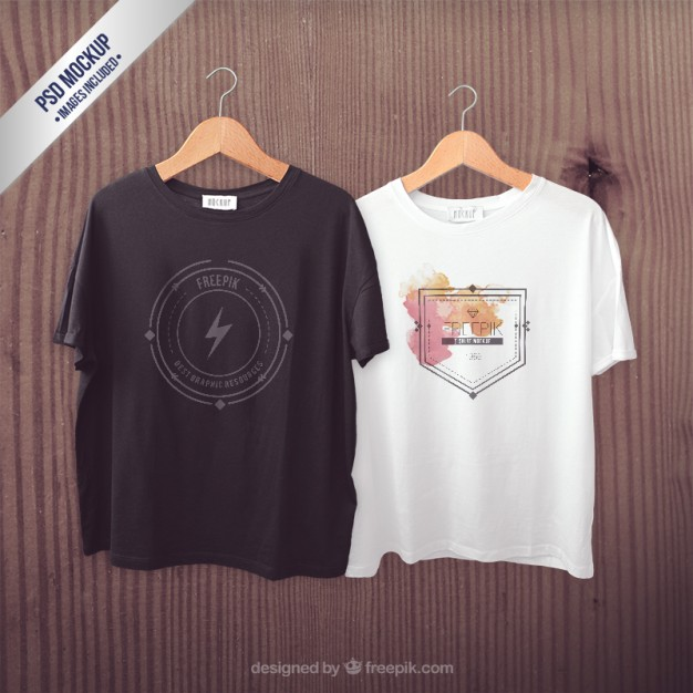 Hanging White and Black t-shirts Mockup PSD