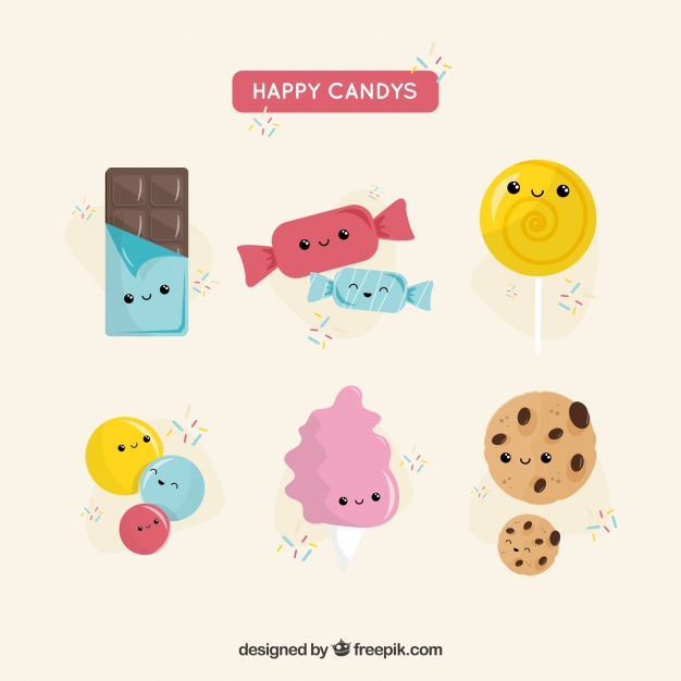 Happy Candies Vector Illustration: