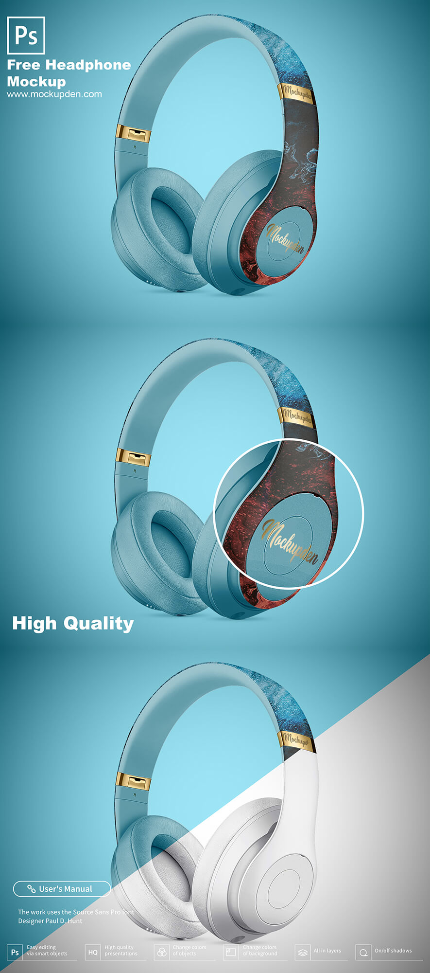 Free Headphone Mockup PSD Template