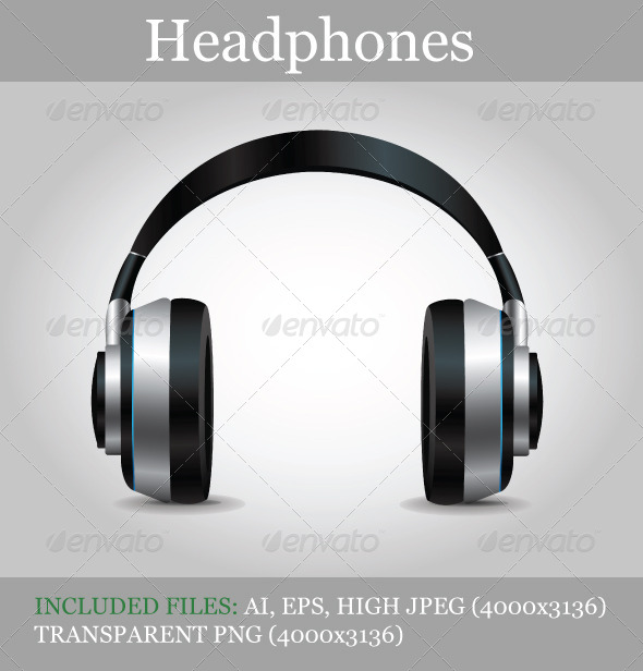 Headphones In A Transparent Background Template.