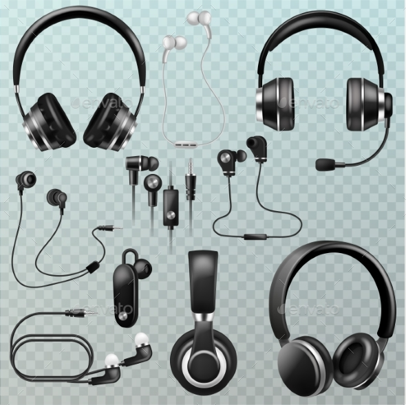 Headset And Headphone Vector.