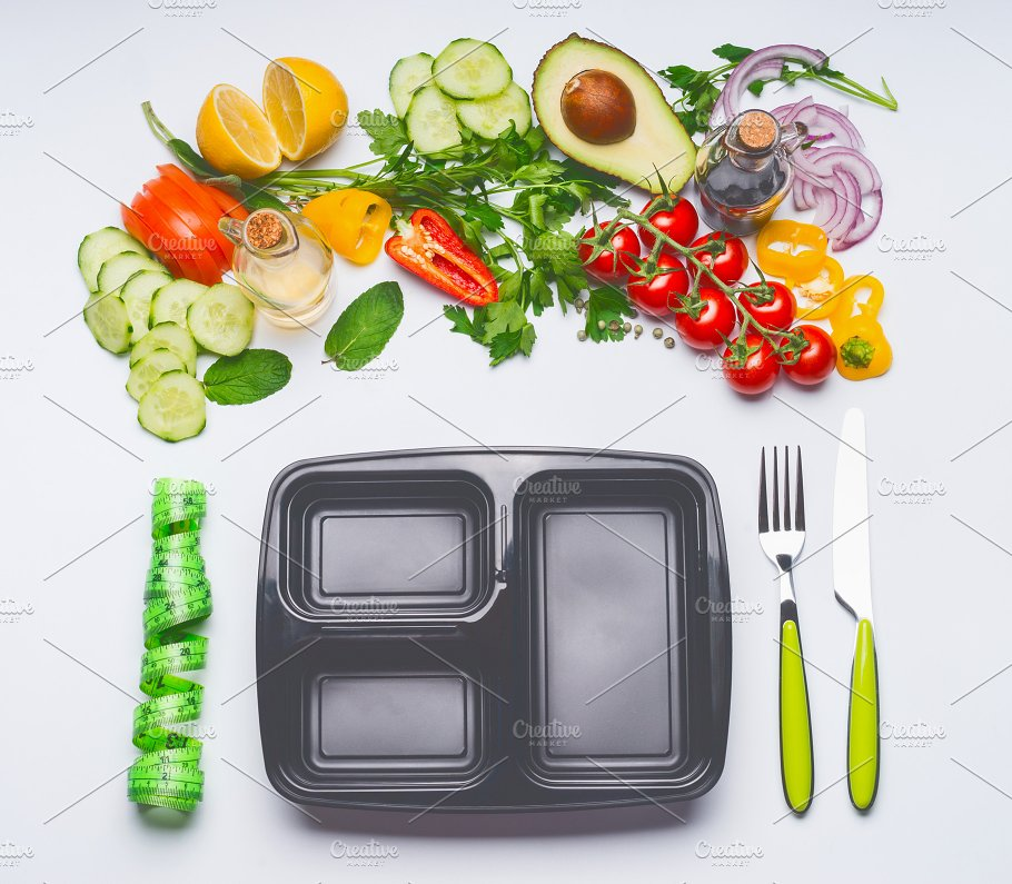 Healthy Lunch Illustration with lunch CpetTray