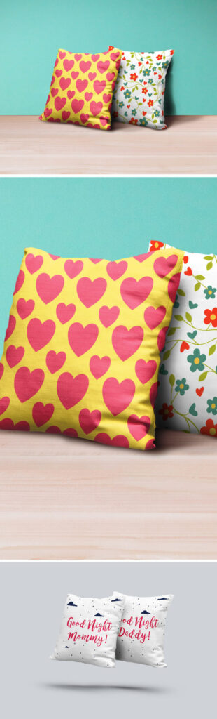 Heart Design Printed Sweet Pillow Mockup