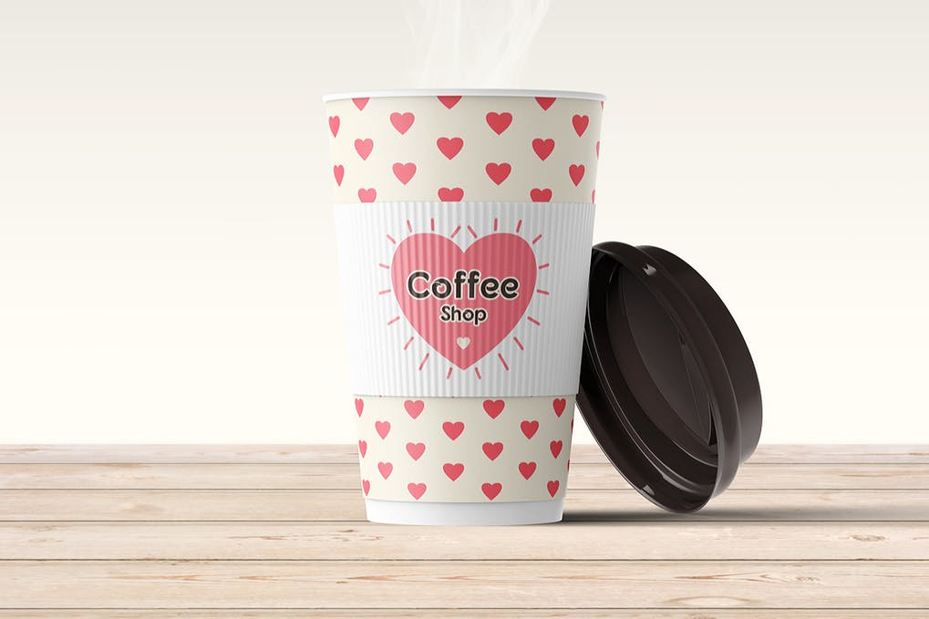Heart Printed Paper Cup With Black Lid Mockup