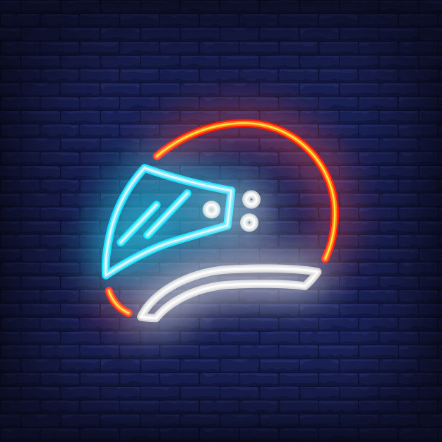 Helmet Drawn As A Logo On Wall With Neon Light