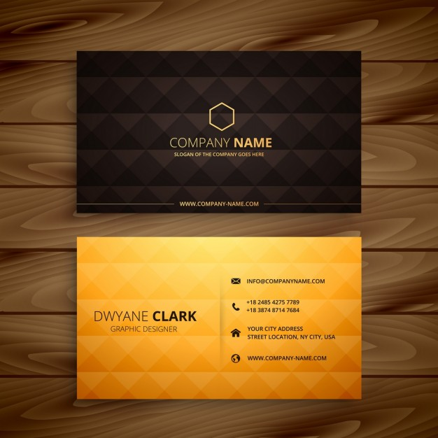 Hexagon Shape Print Black And Golden Business Card Kept On Wooden Table Mockup