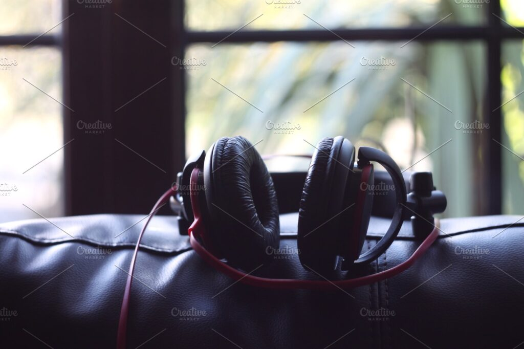 High Quality Picture Of Black Headphone Mockup PSD.