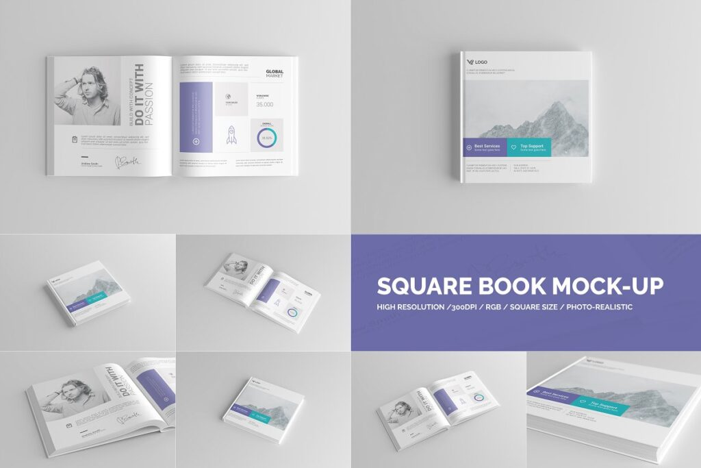 High-Resolution Square Book Design