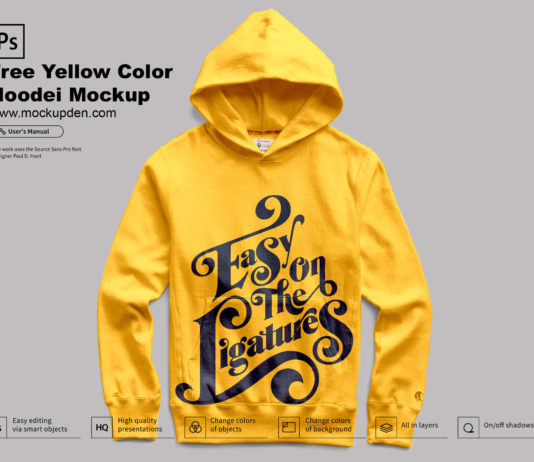 Free Yellow Color Hoodie Mockup PSD Template