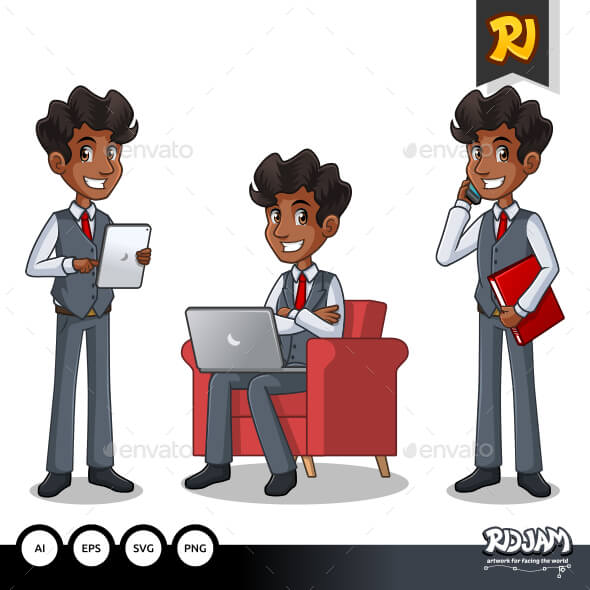 Illustration Of Men In Business Vest.