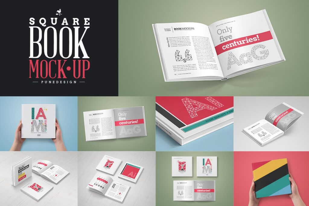 Illustration Of Open Square Book Mockup