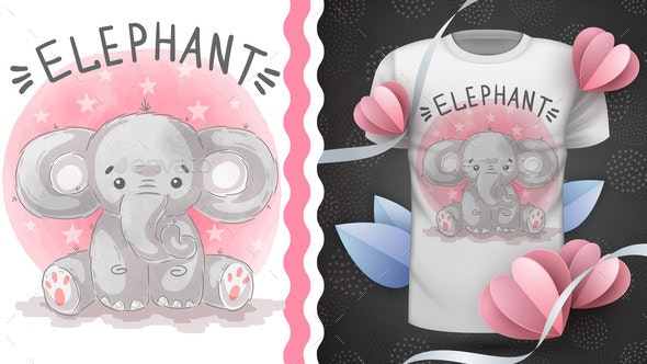 Indian Elephant - Idea for Print T-Shirt