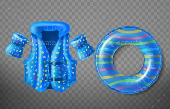 Inflatable Life Vest, Swim Ring And Arm Guard Illustration.