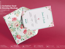 Free Invitation Card With Envelop Mockup PSD Template