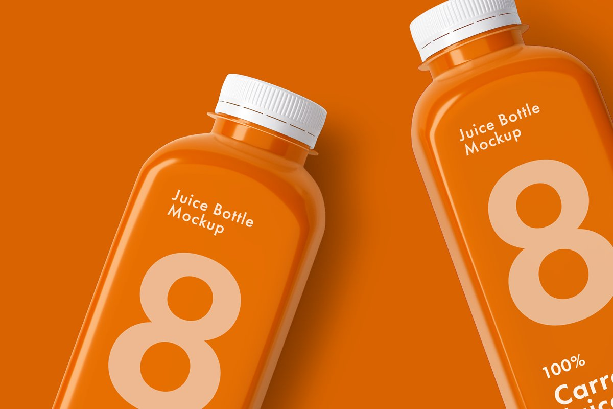 Juice Bottle In Orange Background PSD File