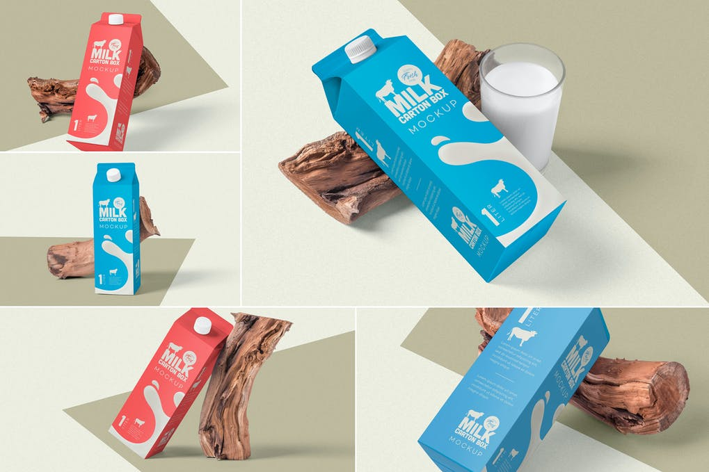 Juice Carton Box Packaging Mockups