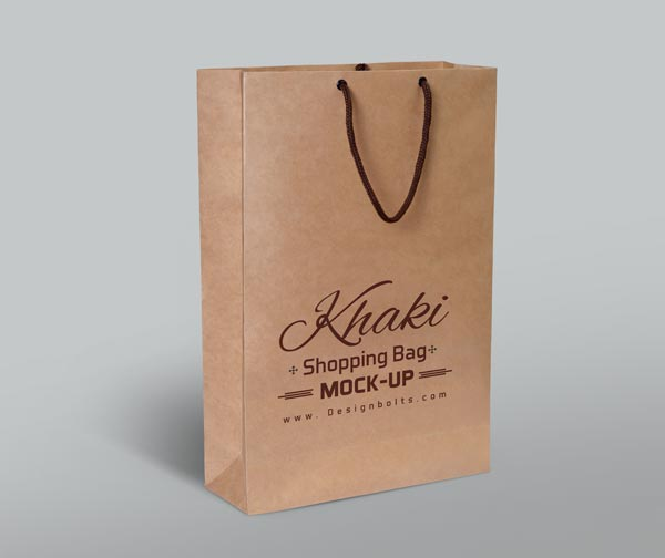 Khaki Shopping Bag PSD Mockup