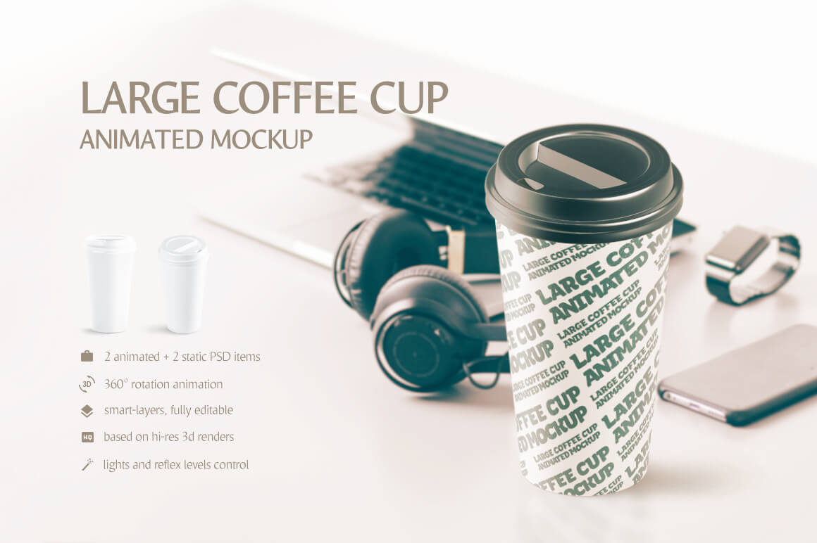 Large Coffee Container Plastic Cup Mockup