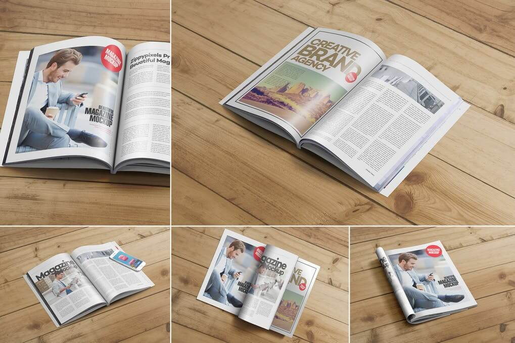 Letter Size Fashion Magazine On Wooden Table PSD