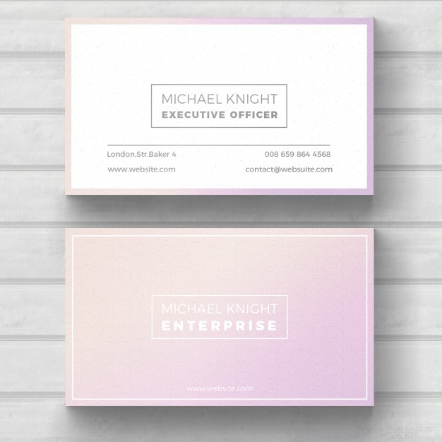 Light Pink Color Name Card Template