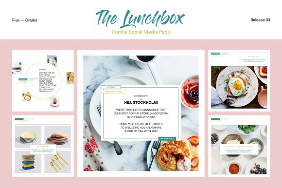 Lunch Box With FoodieSocial Media Mockup Pack