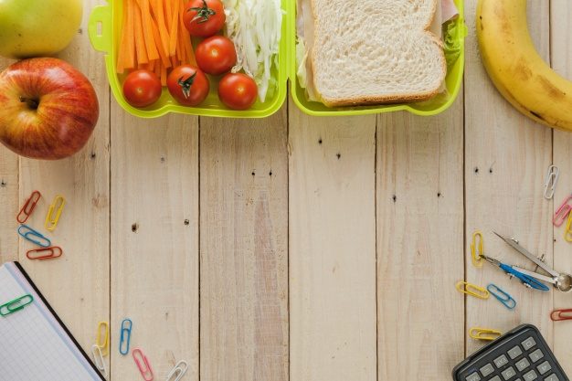 Lunch Box With Fruits And Stationery Mockup