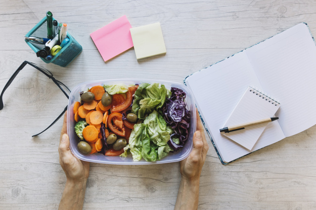 Lunch Box With Salad Mockup