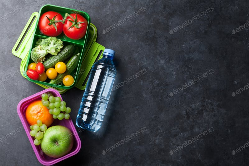 Lunch Box With Water Bottle Mockup